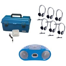 6 Piece Person Listening Center Set with Bluetooth CD/Cassette/FM Boombox and On-Ear Headphones
