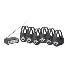 Multi Frequency 6 Station Wireless Listening Center with Headphones and Bluetooth Transmitter