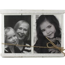 Veritas Wood and Twine Double Picture Frame
