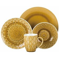 Peacock Crackleglaze 16 Piece Dinnerware Set