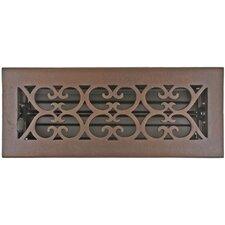 "Registers and Vents 4.5"" x 11"" Bronze Scroll Floor Register in Bronze Patina"
