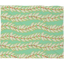 Jacqueline Maldonado Leaf Dot Stripe Mint Fleece Throw Blanket