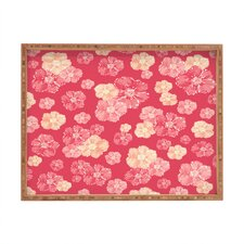 Lisa Argyropoulos Blossoms On Coral Rectangle Tray
