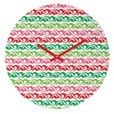 Andi Bird Sugar Plum Stripe Wall Clock
