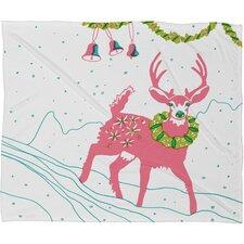 Betsy Olmsted Holiday Deer Plush Fleece Throw Blanket