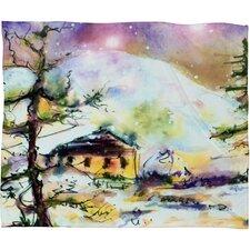 Ginette Fine Art Cabin In The Snow Plush Fleece Throw Blanket