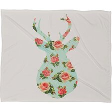 Allyson Johnson Floral Deer Silhouette Plush Fleece Throw Blanket