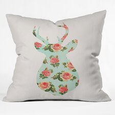 Allyson Johnson Floral Deer Silhouette Throw Pillow