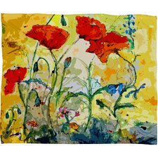 Ginette Fine Art Poppies Provence Throw Blanket