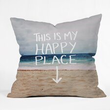 Leah Flores Happy Place X Beach Indoor/Outdoor  Throw Pillow