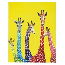 """Jellybean Giraffes"" by Clara Nilles Painting Print Gallery Wrapped on Canvas"