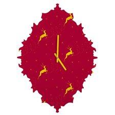 Jacqueline Maldonado Reindeer Stars Wall Clock