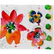 Summer in Watercolor Fleece by Laura Trevey Throw Blanket