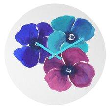 Jewel Tone Pansies By Laura Trevey Clock