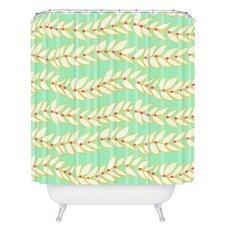 Jacqueline Maldonado Leaf Dot Stripe Mint Shower Curtain