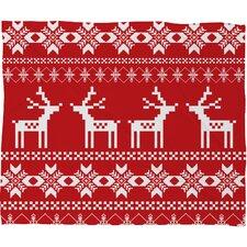 Natt Christmas Deer Fleece Polyester Throw Blanket