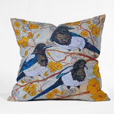 Elizabeth St Hilaire Nelson Magpies And Blossoms Throw Pillow