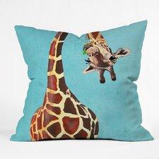 Coco De Paris Giraffe with Leaf Indoor/Outdoor Throw Pillow