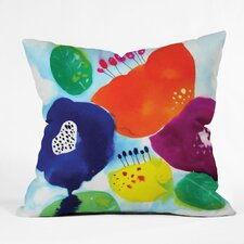 Cayena Blanca Big Flowers Throw Pillow
