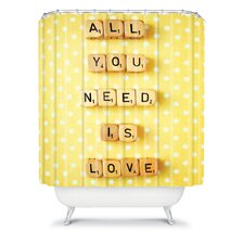 Happee Monkee Tiles All You Need Is Love Shower Curtain