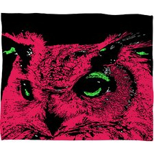 Romi Vega Pink Owl Throw Blanket