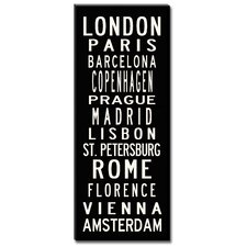 European Cities Textual Art Giclee Printed on Canvas