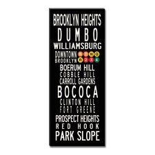 Brooklyn Neighbordhoods Textual Art Giclee Printed on Canvas