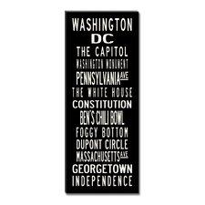 Washington DC Textual Art Giclee Printed on Canvas