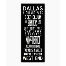Dallas Textual Art Giclee Printed on Canvas