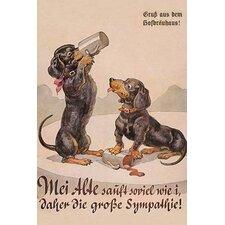 'Daschund Duo Drinks' Vintage Advertisement