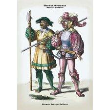 German Costumes: German Peasant Soldiers Painting Print