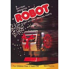 'Battery Operated Robot: Go Float Action and Moving Parts' Vintage Advertisement