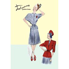 Pleated Sailor Dress with Jacket Painting Print