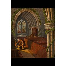 'Stoking The Stove for Heat Preparing for Church Services' by Kronheim and Dalziels Painting Print
