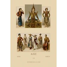A Variety of Asian Costumes by Auguste Racinet Painting Print