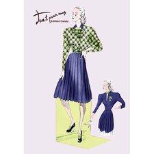 Pleated Dress with Plaid Jacket Vintage Advertisement