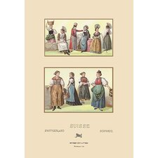 'Feminine Dress of Switzerland' by Auguste Racinet Graphic Art