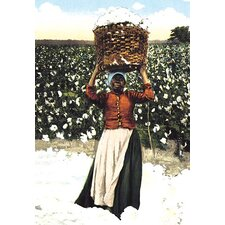 Woman with Basket of Cotton Painting Print