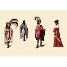 Flamboyant Medieval Costumes by H. Shaw Painting Print