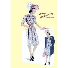 Paisley Dress with Hat, Gloves and Jacket Painting Print