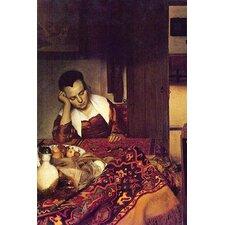'A woman asleep' by Johannes Vermeer Painting Print