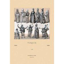 'Feminine Turkish Dress' by Auguste Racinet Painting Print