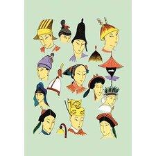 'Feminine Chinese Hats' Painting Print