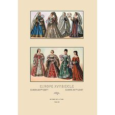 Feminine Dress of the French' by Auguste Racinet Graphic Art