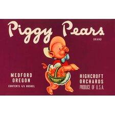 'Piggy Pears Crate Label' Vintage Advertisement
