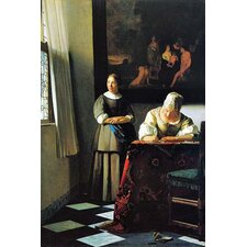 'Woman with Messenger' by Johannes Vermeer Painting Print