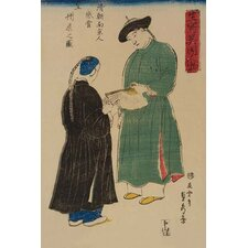 'Chinese from Nanking Admire Koshu¯ fan' by Sadahide Utagawa Painting Print