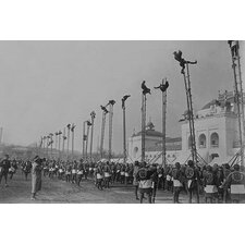 'A Line of Dozens of High Bamboo Ladders' Photographic Print