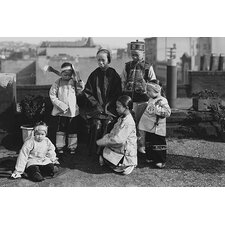 'Chinese Mother with Her Children in Native Costume Sit on Rooftop' by Jackson Photographic Print