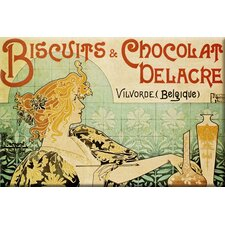 'Biscuits and Chocolate Delcare' by Alphonse Mucha Vintage Advertisement on Wrapped Canvas